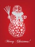 Kerstmiskaart van de sneeuwman Royalty-vrije Stock Afbeeldingen
