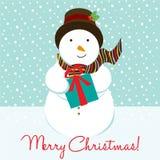 Kerstmiskaart van de sneeuwman Stock Foto