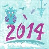 Kerstmiskaart van 2014 met uil Stock Foto