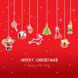 Kerstmiskaart voor jong geitje, rode achtergrond royalty-vrije illustratie