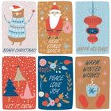Kerstmiskaarten royalty-vrije illustratie