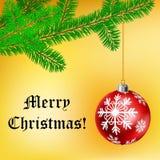Kerstmiskader met bal en pijnboomtak Stock Afbeelding
