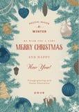 Kerstmiskader met blauwe en beige speelgoed en decoratie Stock Afbeelding