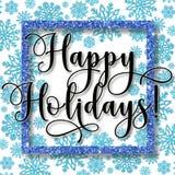 Kerstmiskader met blauwe sneeuwvlokken en Gelukkige vakantieteksten Stock Afbeeldingen