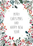 Kerstmiskader met decoratieve takken, maretak Stock Afbeelding