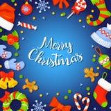 Kerstmiskader met Holly Decoration Vector illustratie vakantie de banner van de kaartaffiche kleurrijk Stock Foto's