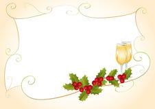 Kerstmiskader met hulst en champagne Stock Afbeeldingen