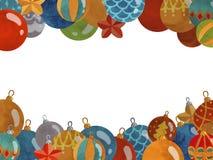 Kerstmiskader met nieuwe jaarballen die wordt verfraaid royalty-vrije illustratie