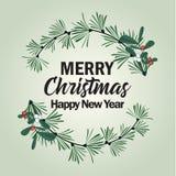 Kerstmiskader met pijnboomtakken en maretak vector illustratie