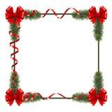 Kerstmiskader met rode linten Royalty-vrije Stock Afbeeldingen