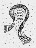 Kerstmiskader met sjaalsneeuwvlokken of Creatieve Prentbriefkaar in zwart wit stock illustratie