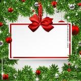 Kerstmiskader met uitnodigingskaart. Stock Afbeeldingen