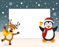 Kerstmiskader - Rendier & Pinguïn stock illustratie