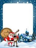 Kerstmiskader Santa Claus Reindeer Hugging Snow Stock Foto