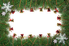 Kerstmiskader van spartakken wordt gemaakt met sneeuwvlokken worden en klokken op witte achtergrond worden geïsoleerd verfraaid d Royalty-vrije Stock Foto's