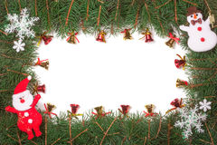 Kerstmiskader van spartakken wordt met Santa Claus en klokken op witte achtergrond worden verfraaid gemaakt die Stock Foto