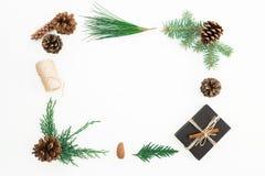 Kerstmiskader van zwarte giftdoos, takken van de winterbomen en denneappels op witte achtergrond wordt gemaakt die Vlak leg Hoogs Royalty-vrije Stock Foto