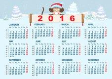 Kerstmiskalender Aap in van het het symbool 2016 jaar van de santahoed de holdingsbanner Royalty-vrije Stock Fotografie