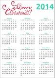 Kerstmiskalender van 2014 Stock Afbeelding