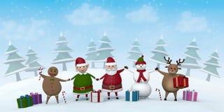Kerstmiskarakters in een sneeuw de winterlandschap royalty-vrije illustratie