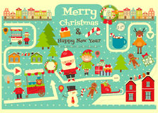 Kerstmiskarakters op Stadskaart Royalty-vrije Stock Fotografie