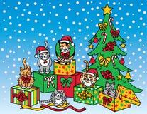 Kerstmiskatten Royalty-vrije Stock Afbeelding