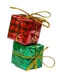 Kerstmiskerstmis stelt en speelgoed dat op witte achtergrond wordt geïsoleerd voor Stock Foto's