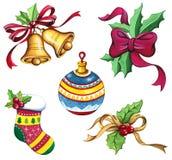 Kerstmisklem Art Set, de Inzameling van de Kerstmiswaterverf Stock Foto's