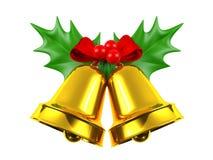 Kerstmisklok met hulst op witte achtergrond wordt geïsoleerd die Royalty-vrije Stock Afbeelding
