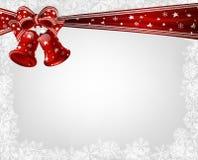 Kerstmisklokken en boog Stock Foto's