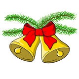 Kerstmisklokken en een boog in rood Stock Fotografie