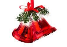 Kerstmisklokken met een rode boog Royalty-vrije Stock Afbeelding