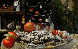 Kerstmiskoekje in de Kerstmisnacht stock foto's