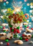 Kerstmiskoekjes en snoepjes Royalty-vrije Stock Afbeelding