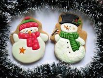 Kerstmiskoekjes, peperkoek voor Nieuwjaar, Sneeuwman Royalty-vrije Stock Foto's