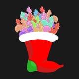 Kerstmiskous met lollyshaan Jonge haansuikergoed traditio Stock Fotografie