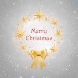 Kerstmiskroon die van gouden sterren wordt gemaakt Stock Foto