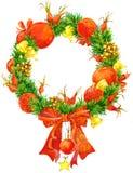 Kerstmiskroon en decoratiedenneappel, Kerstmisster, Kerstboomornament De illustratie van de waterverf Royalty-vrije Stock Fotografie