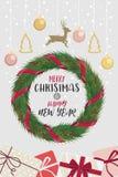 Kerstmiskroon en het gelukkige nieuwe rood van jaarlinten verfraaid Royalty-vrije Stock Foto
