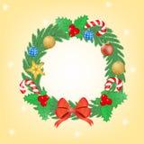 Kerstmiskroon met ballen en stokken Stock Fotografie