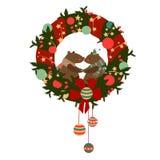 Kerstmiskroon met beren Stock Afbeelding