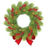 Kerstmiskroon met bes en rode boog Stock Afbeeldingen
