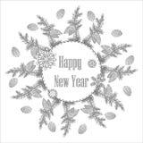 Kerstmiskroon met decoratieve Zwart-witte punten, Vectorkleuring op een Nieuwjaarthema Feestelijke kaart Stock Foto