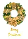 Kerstmiskroon met gouden decoratie op witte achtergrond Stock Fotografie