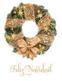 Kerstmiskroon met gouden decoratie op witte achtergrond Royalty-vrije Stock Fotografie