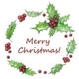 Kerstmiskroon met Holly Leaves en Rode Bessenwaterverf Hand het Schilderen Boeket Botanische Tekening Illustratie Stock Fotografie