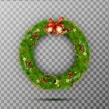 Kerstmiskroon met kenwijsjeklokken, rood boog en lint, ster, bes Verfraaide kroon van pijnboomtakken Stock Fotografie