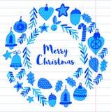 Kerstmiskroon met Kerstmiselementen, ballen, decoratie Vrolijke Kerstmis en de Gelukkige Nieuwe Vakantie van de jaarhulst heel vector illustratie