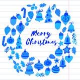 Kerstmiskroon met Kerstmiselementen, ballen, decoratie Vrolijke Kerstmis en de Gelukkige Nieuwe Vakantie van de jaarhulst heel stock illustratie