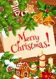Kerstmiskroon met klok op houten achtergrond Stock Fotografie